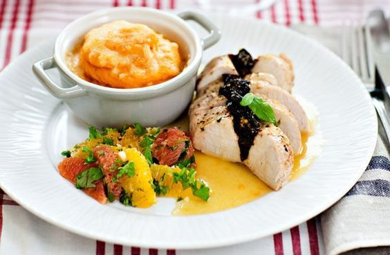 Kalkonbröst med sötpotatis och apelsinsås – snabb kalkonmiddag!