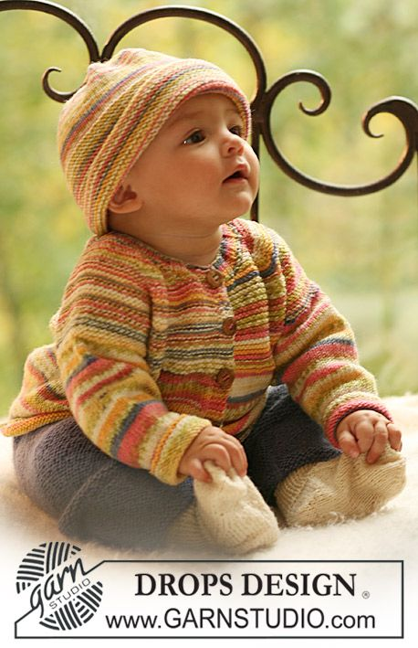 "Knitted DROPS jacket and hat in ""Fabel"" and pants and socks in ""Alpaca"". ~ DROPS Design"