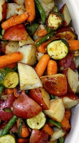 Roasted Herb Veggies ~ Red Potatoes, Yellow Bell Pepper, Green Beans, Zucchini, Carrots, and Onion. Toss with Olive Oil, Fresh Thyme, Lemon Juice, Salt & Pepper, and Garlic. Roast at 450°F for 35-45 mins.