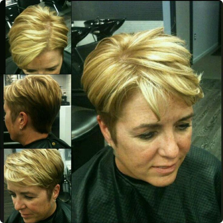 pixie haircut with highlight