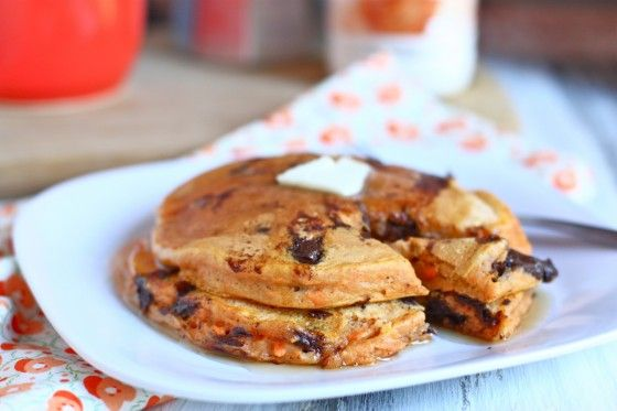 whole wheat chocolate chip sweet potato pancakes