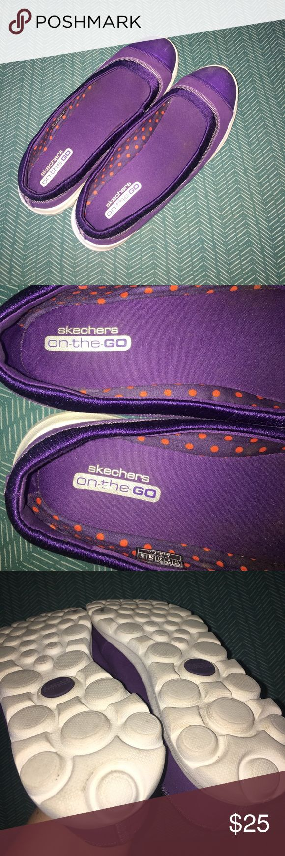 Skechers On the Go slip-on shoes sz 11 Skechers On The Go purple slip-on walking shoes.  Women's size 11. In very good, gently used condition. No holes, no odors and very little signs of wear. Coming from a smoke-free home. 🌟🌟 (AUTOMATIC 30% off bundles of 4 or more, just make a bundle and it'll come right off. And I have lots of $10-15-20 items!) Skechers Shoes
