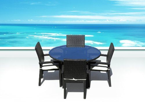 "Outdoor PE Resin Wicker Patio Furniture All Weather Resin Round Dining Table Set & Chairs by Cassona Outdoor living. $999.00. - Why spend so much on retail? Save a lot with our Factory Direct Price. - Curbside Delivery with signature required. - Powder coated aluminum frame, Seating Strap Support System & Premium Quality Foam Cushions & zippered covers. - Weather Proof Espresso 5 Pc Round Dining Set includes 1pc 48"" table with glass top and 4 Arm chairs. - Hand woven with..."