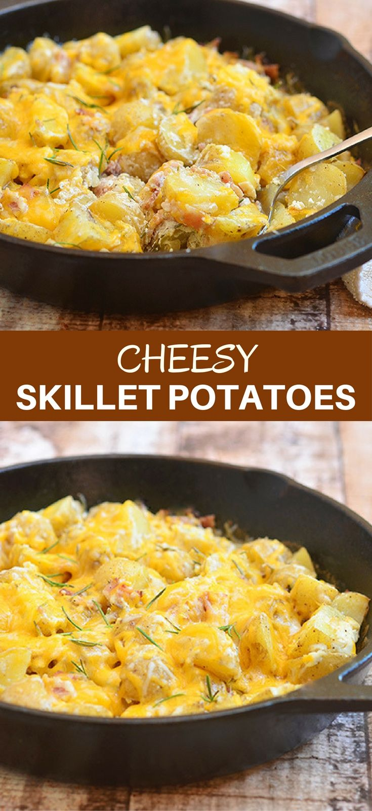 Cheesy Skillet Potatoes is the ultimate potato side dish! With fluffy Yukon gold potatoes, creamy sour cream sauce, crisp bacon, gooey cheese, and fresh  rosemary, it's hearty, delicious and a guaranteed family favorite. #cheesypotatoes #potatoes #sidedish #cheese