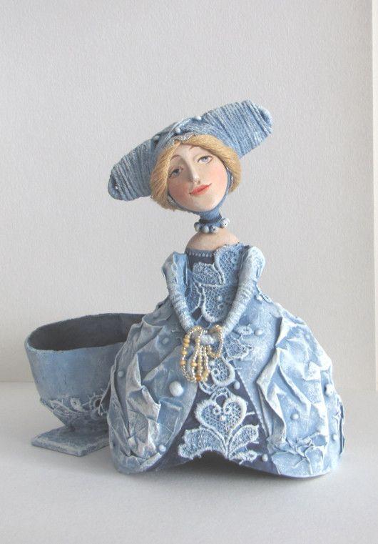 """Купить Кукла-шкатулка """"Дама в голубом"""" - кукла, шкатулка, эксклюзивный подарок, папье-маше"""