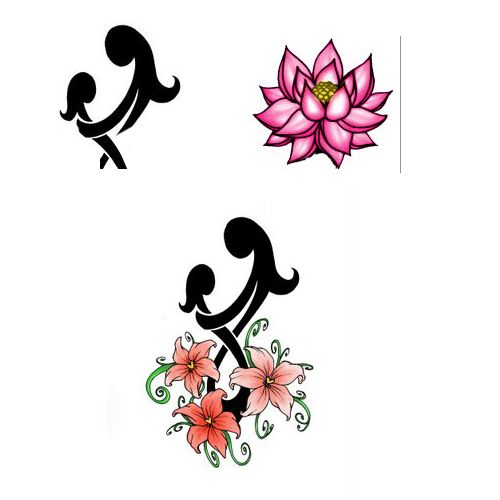 Mother Daughter Symbol With Lotus Tattoo