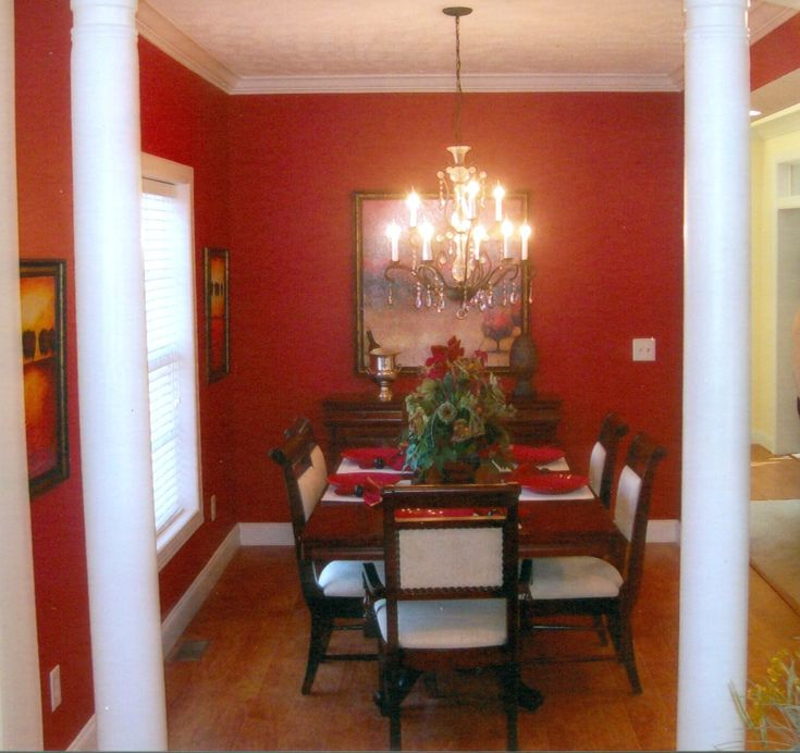 Red And White Wall Color For Dining Room Decorating With Amazing Brown Wood  Rectangle Shaped Dining
