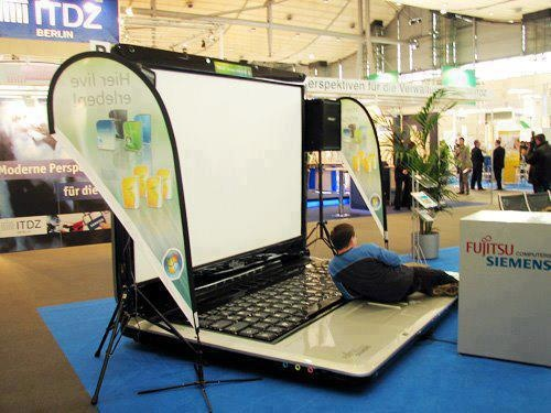 World's BIGGEST Laptop - why sit and type when you can dance and do it!