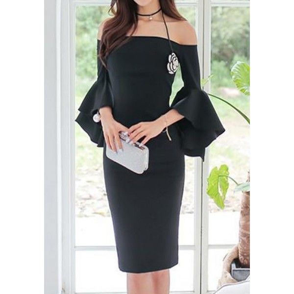 GM-Fashion Black Plain Ruffle Boat Neck Midi Dress