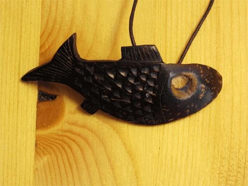 Fish coconut shell thong pendant, unique present