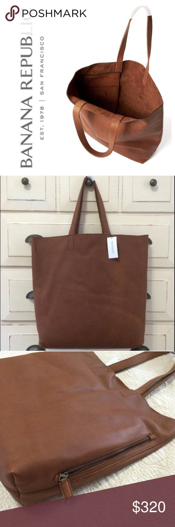 """‼️ FREE SHIPPING BR Cognac Leather Tote Bag Banana Republic's Side Zip Leather Tote is similar to Madewell's Transport Tote, but the straps are 1"""" wide for comfort and they're stitched for durability. There's an exterior zip pocket and an interior slip pocket. The leather is incredibly soft and the interior is beautiful raw sueded leather. This leather is amazing quality and made to last.  Approximately 16""""h x 14""""w x 5""""d 19"""" flat across the top  ❌ Sorry, no trades. Banana Republic Bags Totes"""