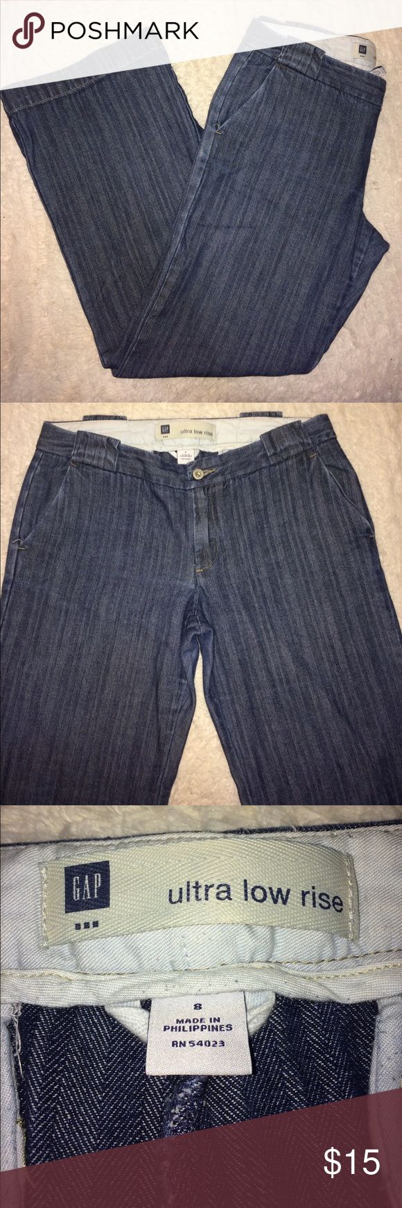 GAP trouser jeans size 8 Gap trouser jeans. Please see photos-missing back button. Size 8. Waist lying flat measures approximately 18 inches and has an inseam of 31.5 inches. Very cute and can be dressed up or down. Ultra low rise fit. GAP Jeans Flare & Wide Leg