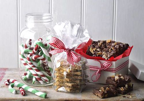 Seeded oatckes, chocolate squares and peppermint candy canes