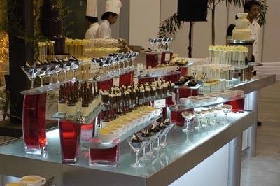 Cheesecake dessert bar with hot chocolate sauce, caramel, chopped nuts, crushed oreos, etc. DIY Party Buffet Bar Ideas!