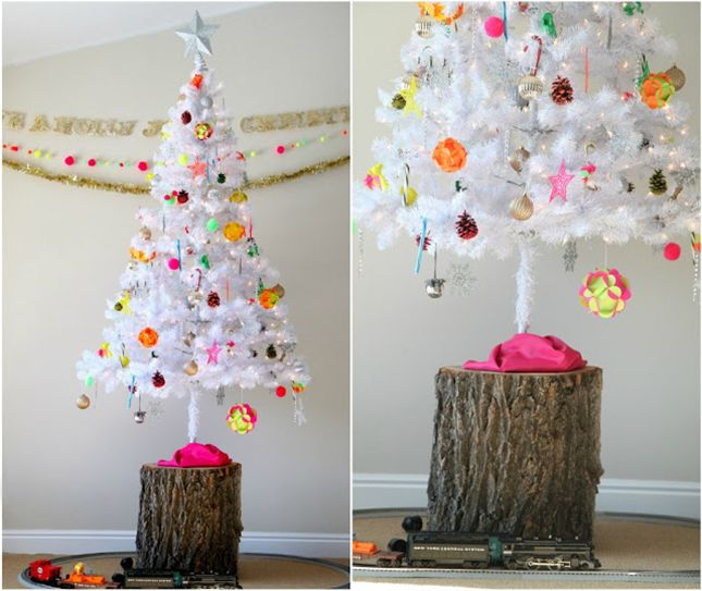 18 Modern Christmas Tree Alternatives via Brit + Co. Maybe the tree on a stump will solve my 1 year old vs the christmas tree delima!