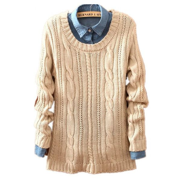 Beige Long Sleeve Patch Pullovers Loose Sweater ($31) ❤ liked on Polyvore