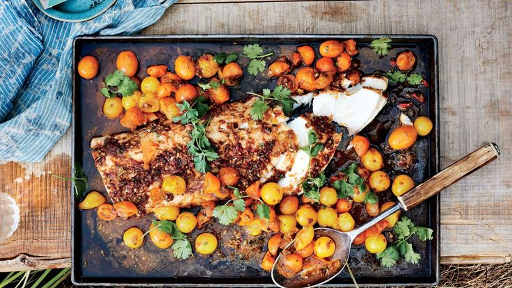 slow roasted black cod with red cheromula sauce