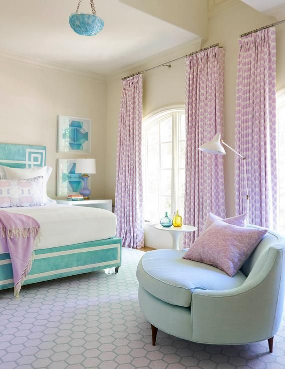 Lilac And Turquoise Contemporary Girlu0027s Bedroom