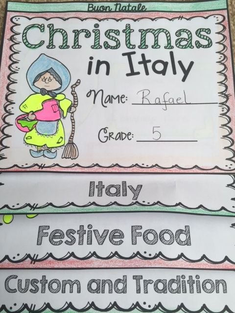 Christmas in Italy fact cards will take your students on a Scavenger Hunt for interesting facts on how Christmas is celebrated in Italy. Your students will have fun as they learn about the history, culture, custom, and tradition of Christmas festive celebrations in Italy.  https://www.teacherspayteachers.com/Product/CHRISTMAS-CHRISTMAS-AROUND-THE-WORLD-ITALY-2248127
