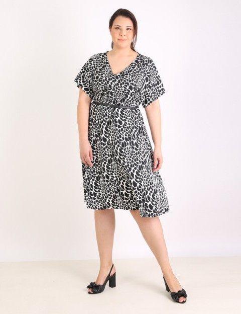 V neck flare dress - Black & White