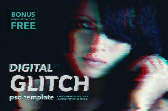 Digital Glitch Effect PSD Templates by Twinbrush Image Forge on @creativemarket