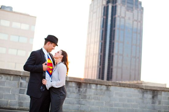 superman rooftop inspired engagement session