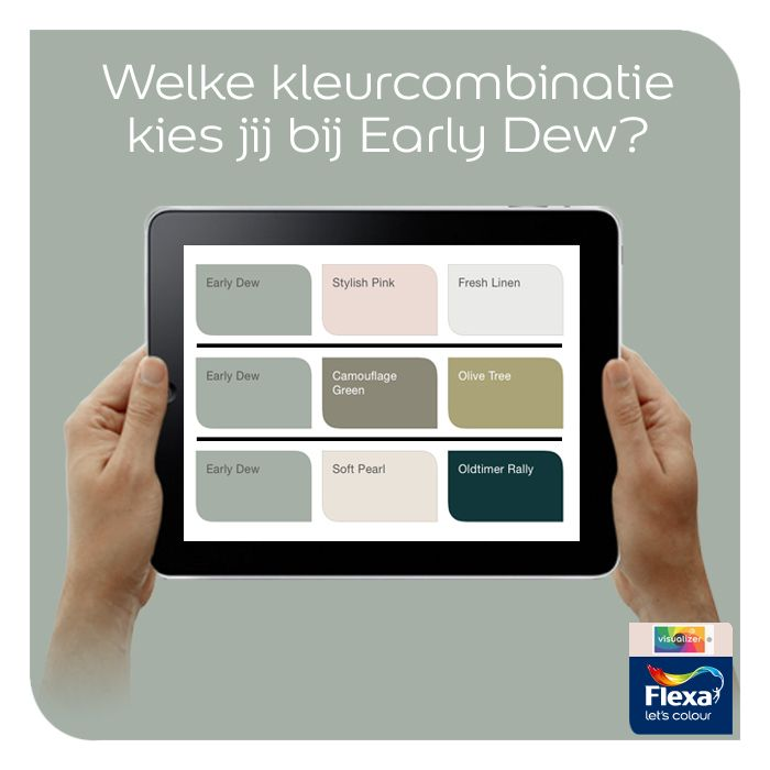 In onze Visualizer app krijg je kleurschema's te zien die passen bij je gekozen kleur. Welke zou jij kiezen bij Early Dew?  http://bit.ly/VirtueelKleuren