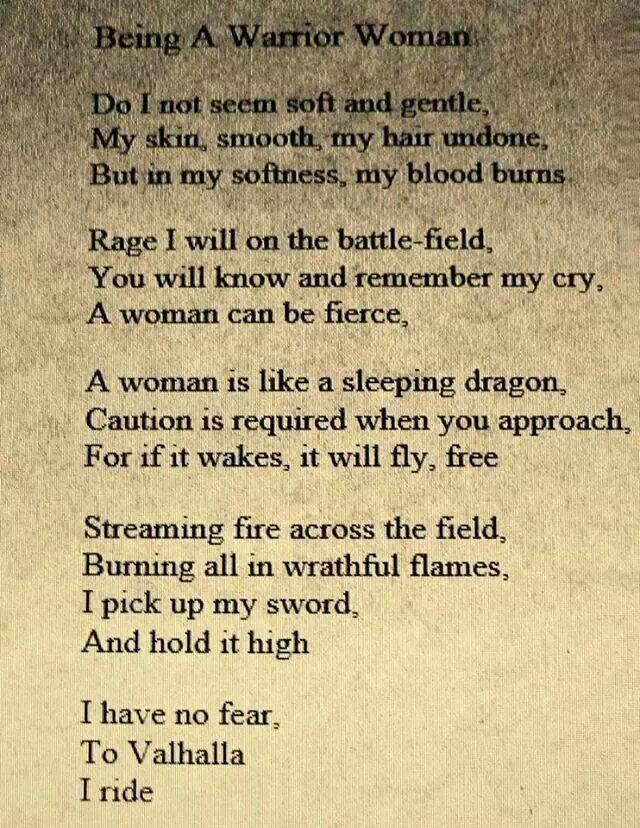 Bring a Warrior Woman.
