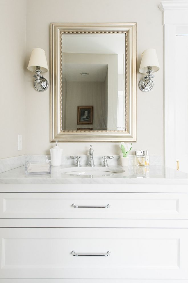 Classic White Bathroom Vanity With White Marble Countertop