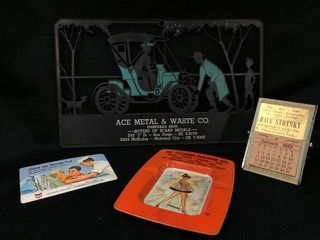 NICE LOT FOR THE VINTAGE ADVERTISING COLLECTOR - INCLUDES A SMALL VINTAGE DESK CALENDAR FOR DAVE STOTSKY, A PLASTIC CHEVRON POCKET CALENDAR, A RISQUE ECONOMY STATIONS TIN ASHTRAY, AND AN ACE METAL & WASTE CO. ADVERTISING PIECE.