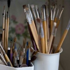 Some of the brushes are made from the delicate fibers from cows' ears or reindeer belly