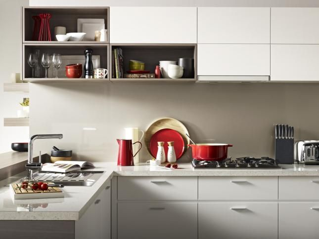 benchtop and drawers in a light tone and a mushroom light grey splashback? Looks good against the red, straw and stainless steel and soft green.