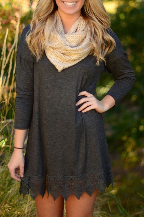 Deep Gray Long Sleeve Lacework Dress