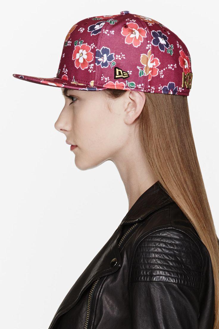 KENZO | Maroon FLOWER PRINT New Era Cap, $70