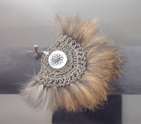 Cotton 70% / Long Glamorous earrings  / crochet handmade / Lined with Fur / gorgeous button / on Etsy, $134.50