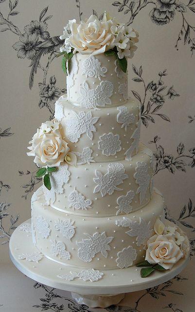 Ivory 4-tier wedding cake