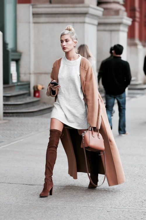 """streetstyleplatform: """"  Khaki Lapel Long Coat ++ Casual White Day Dress + Over the Knee Suede Boots + """""""