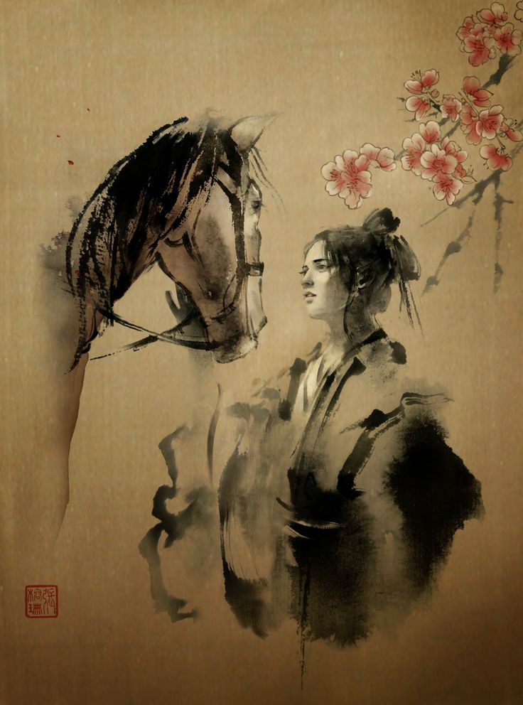 JUNGSHAN INK- illustration: Wuxia Magazine cover. Chinese artist Rola Chang, aka Jung Shan from Taiwan. Asian inspired ink paintings combining eastern and western elements http://jungshan.deviantart.com/ http://jung-shan.blogspot.com/?m=1   張榕珊