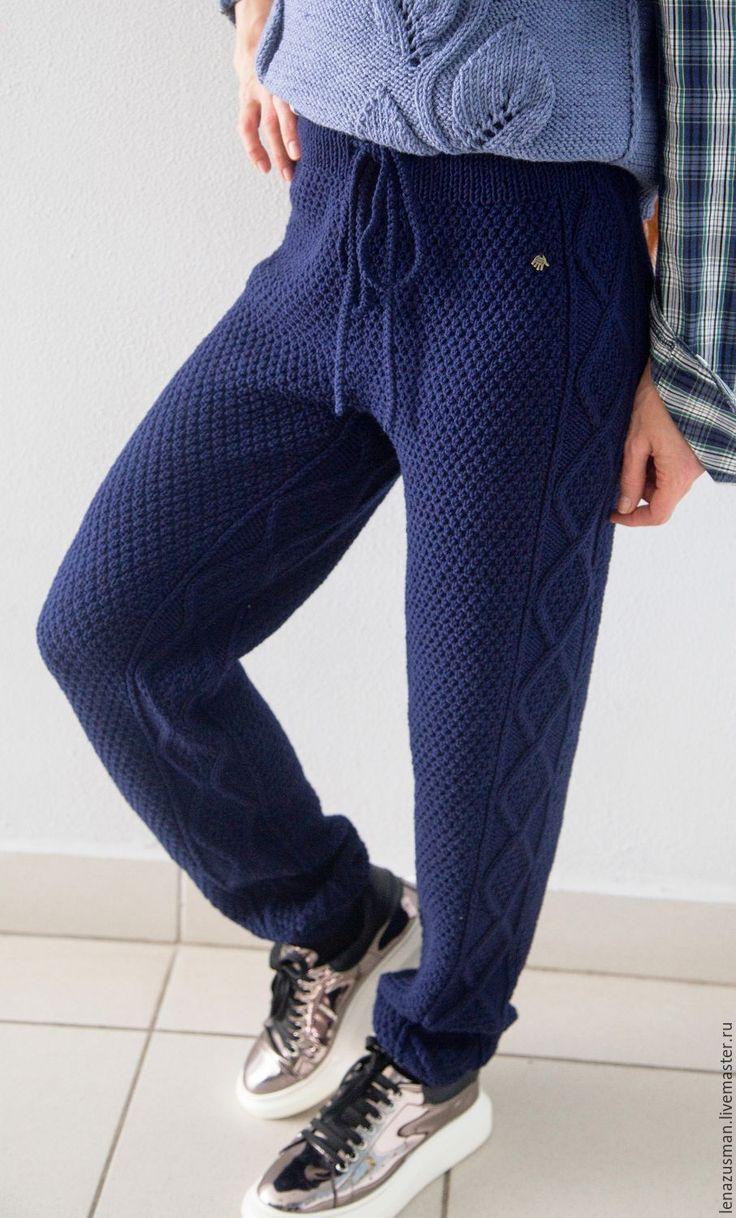 Купить Проданы! вязаные брючки для модницы. - тёмно-синий, шерсть 100%, alize, вязаные брюки