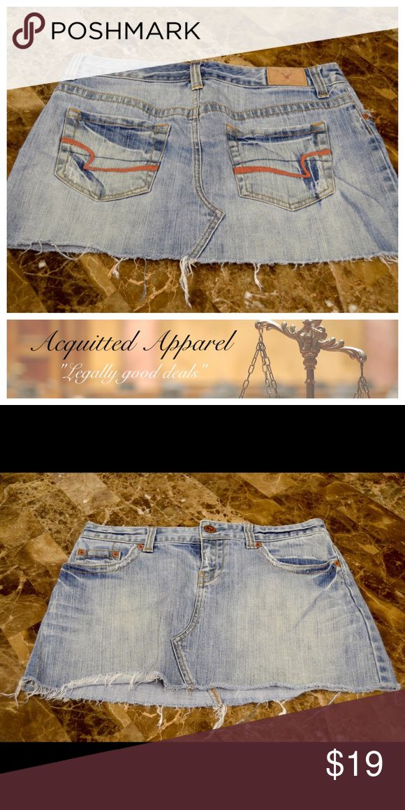American Eagle Denim Mini Skirt Excellent condition. Super cute and comfy. Size 6. American Eagle Outfitters Skirts Mini