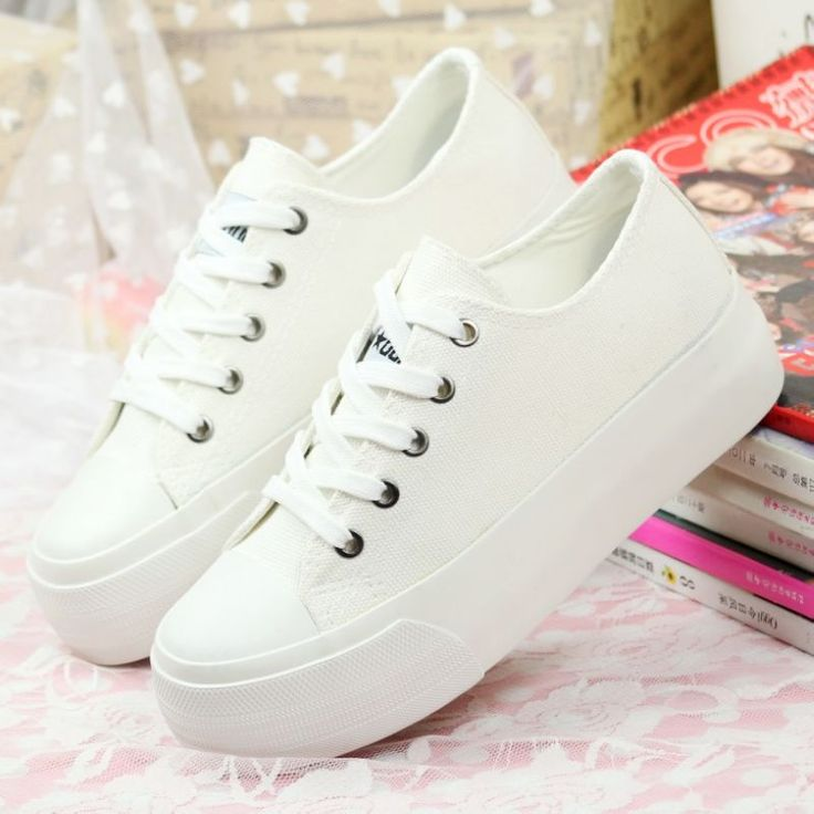 Black white casual platform canvas flats women sneakers spring  2014 shoes woman $25.00