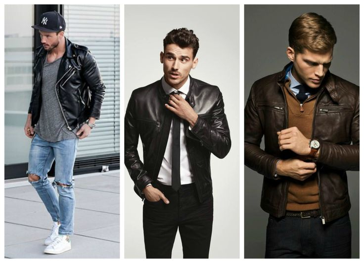 Men's outfits for fall, winter - black & brown leather jacket for men.