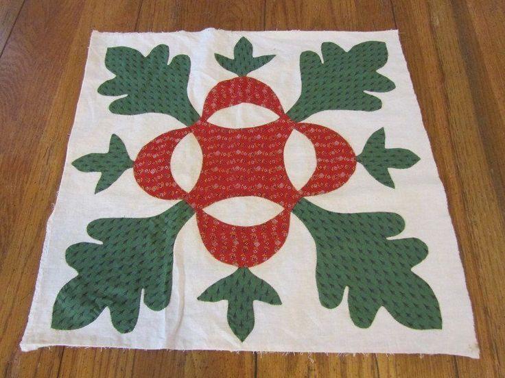 Antique Baltimore Album 1850s Applique QUILT Block Turkey Red Green #5