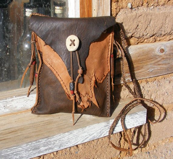 TURQUOISE TRAIL deerskin Medicine Bag / Spirit by pradoleather