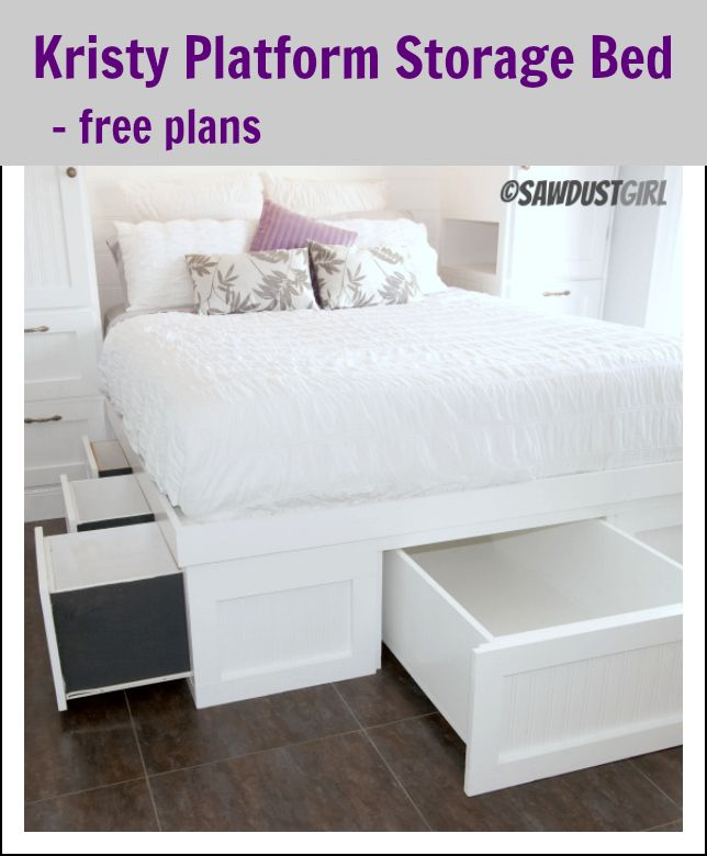 Back Bedroom - Kristy Platform Storage Bed – free plan - What if 1/2 the under bed storage was a kid's size pullout bed for grandkids sleeping over, and what if you made a bedside crib instead of 2 drawers for infants? That way the kids and grandkids could all sleep in one room easily AND it could be put away for other guest use? Hmmmm might have to think on these things...:)