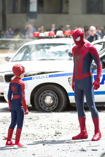 Too Cute! Andrew Garfield Meets His Mini Me on Set: Andrew Garfield and Jorge Vegas suited up for scenes from The Amazing Spider-Man 2.