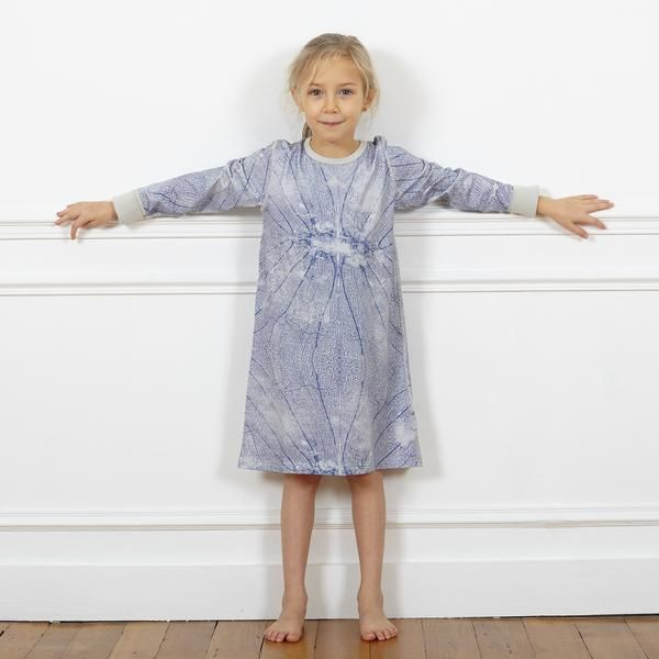 Dragonfly | by Beau & Rooster. We know you & the kids are gonna love this. Our Dragonfly print Nightdress, finished in our super soft, GOTS certified combed organic Pima cotton.  Room to grow with foldable cuffs Printed neck label means no itching Stretch waistband for extra comfort Low crotch style for added stretch Super smooth flat-lock seams Combed and pre-washed 97% organic pima cotton, 3% elastane GOTS certified license number CERES-0130 Certified