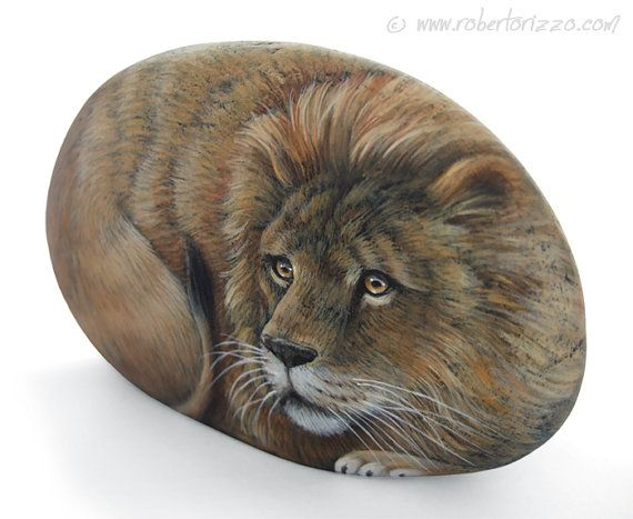 Lion Hand Painted Rock Stone Art by Roberto by RobertoRizzoArt