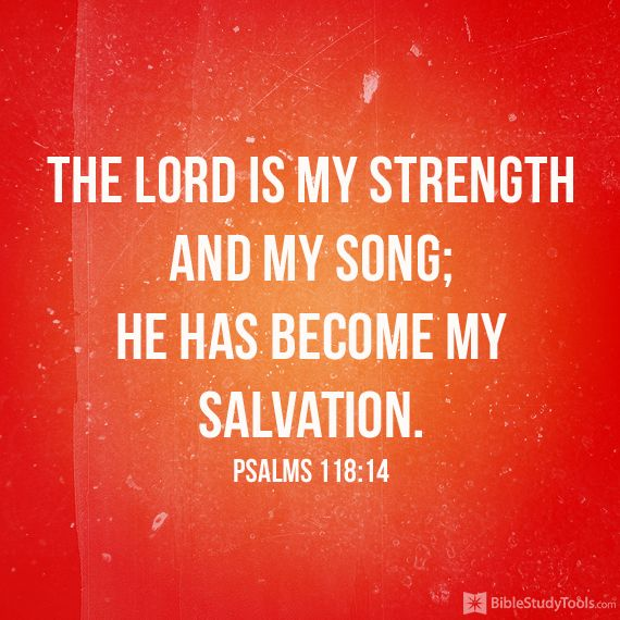"""""""The LORD is my strength and my song; he has become my salvation."""" Psalm 118:14"""