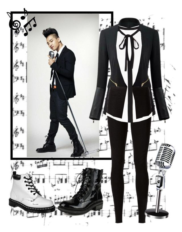 """B'n'W Music"" by vinne on Polyvore featuring BasicGrey, Rick Owens Lilies, BCBGMAXAZRIA, Dr. Martens, music, blackandwhite, kpop and taeyang"
